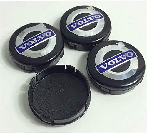 4 piezas Cubiertas de Cubo de Rueda para VOLVO S40 S60 S80L XC60 XC90, Prueba De Polvo Tapas centrales para llantas con el Logotipo De Insignia Automóvil Accesorios,64mm