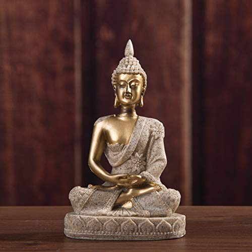 WDFS Buddha Statue Small Ornaments Resin Home Decor Miniature Office Desk Sculpture Craft Crackle Shrine Meditating Sitting Gifts Figurine Harmony Handmade(Gold)
