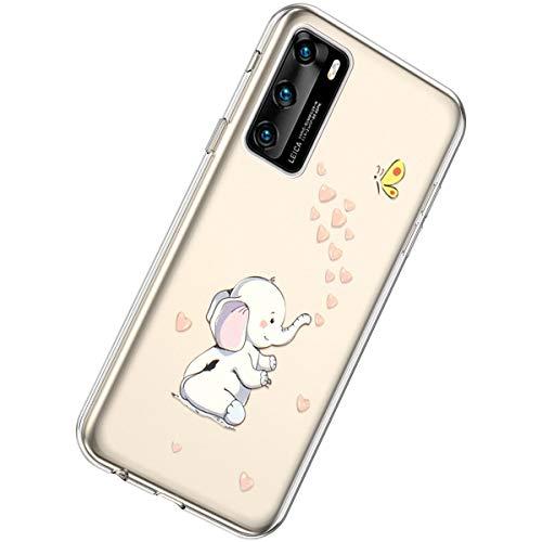 Herbests Kompatibel mit Huawei P40 Hülle Silikon Weich TPU Handyhülle Durchsichtige Schutzhülle Niedlich Muster Transparent Ultradünn Kristall Klar Handyhülle,Elefant Liebe