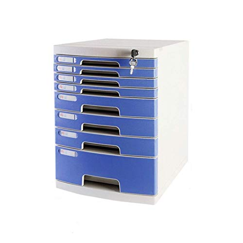 Archivadores CAIJINJIN Cajón clasificadores, 8-Capas con llave Oficina de mesa de escritorio del cajón del armario de datos Periódico Bastidores-Azul (Tamaño: 11.8 pulg * * 15.8in 17.2in) Oficina