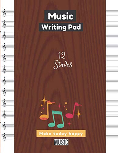 Music Writing Pad, Brown wooden texture seamless pattern template illustrations posters backgrounds prints wallpapers cover, 12 staves per page, 100 pages - Large(8.5 x 11 inches)