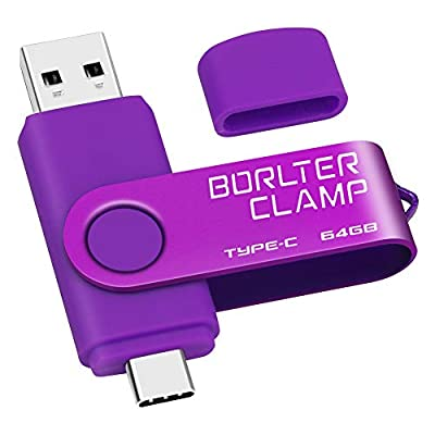 64GB USB Type-C Flash Drive, BorlterClamp Memory Stick USB C 3.0 Jump Drive 2 in 1 for Android Smartphones Samsung Galaxy S10/S9/S8/Note 9, LG, Huawei, Tablets & Computer (Purple)
