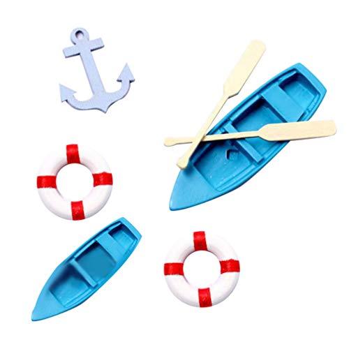 VOSAREA 5 Stücke Miniatur Deko Strand Mikrolandschaft Harz Boot Paddel Anker und Rettungsring für Moos Sukkulenten Terrarium Puppenhaus Fee Garten Maritime Dekoration