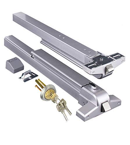 Door Push Bar Panic Exit Device with Exterior Lever Emergency Lock Stainless Steel Commercial Door Push Bar Emergency Panic Exit Bar Handle Door Hardware for Wood Metal Door