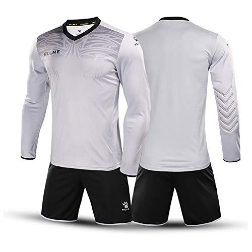 KELME Women Padded Goalkeeper Jersey and Shorts, Girl Soccer Goalie Shirt Long Sleeve, Youth Keeper Uniform Kit Grey M