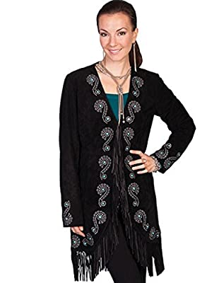 Scully Women's Embroidered Fringe Long Suede Leather Jacket Black Large