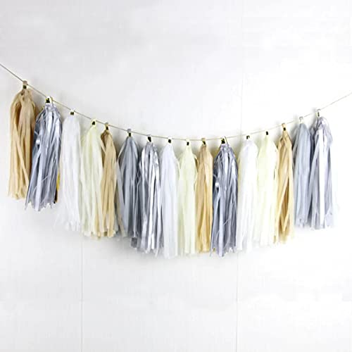 5-Pack Tan Brwon Gray Cream White Tissue Paper Tassel Garland Banner Party Streamers Backdrop for Neutral Baby Shower Birthday Wedding Bridal Shower Bachelorette Party Nursery Wall Hanging Decoration