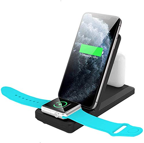 Gymqian Cargador Inalámbrico 3 en 1 Estación de Carga para Watch Y Airpods Qi Fast Wireless Charger Stand Compatible Iphone 11/11/12 / Pro/X/Xs/Xr/Xs Max / 8 Compatible Iw