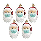 Yagerod 5Pcs Santa in 2020 Ornament, Santa mit Einer Maske Weihnachtsbaumschmuck, Will Sein Gesicht Nicht Zeigen, Weihnachtsbaum Schneemann Epidemie Prävention hängen Anhänger