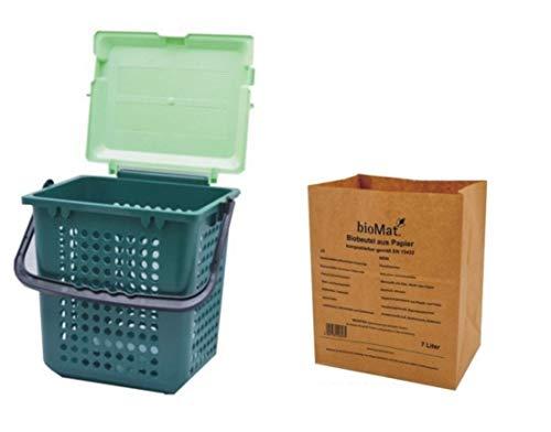 bioMat® AirBox® Family Bio-Abfalleimer + 3 Bündel á 40 Bio-Abfallbeutel 7 L aus Kraftpapier