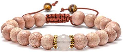 Lava Rock Bracelet - 8mm Stone Tiger Eye Bracelet Lava Rock Bracelet , Stress Relief Yoga Beads Adjustable Bracelet Anxiety Aromatherapy Essential Oil Diffuser Healing Lava Bracelet for Men Women