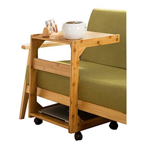 YULAN Bijzettafel, kleine salontafel met wielen, eenvoudige mini woonkamer massief hout, slaapkamer, bed, tafel