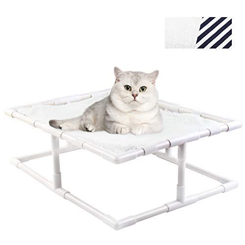 ANRIS Hamaca Desmontable para Gatos, Perros Cama Elevada para Mascotas con Cojín para Invierno y Verano para Dormir Cómodo