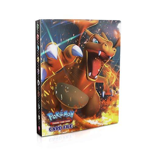 EKKONG Pokemon Sammelalbum Pokemon Karten Album Pokemon Karten Halter Pokemon Sammelkartenalben, Bester Schutz für Pokemon Karten GX EX Trainer Alben 30 Seiten 240 Karten Kapazität (Charizard)