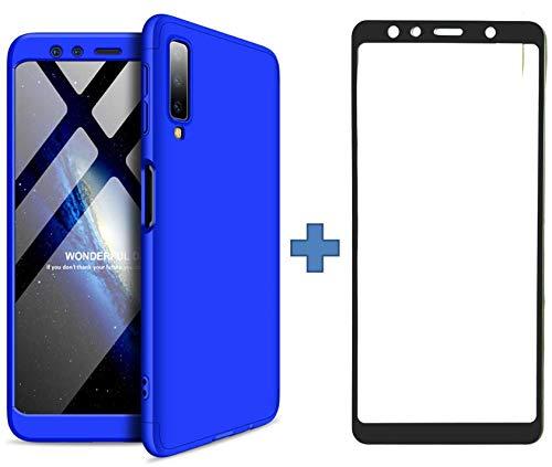 BCIT Samsung Galaxy A7 2018 Hülle Bumper 360° R&umschutz 0.8mm extra dünn PC Hülle Anti-Fingerabdruck Kratzsicher Stoßfest Schutzhülle + Panzerglas für Samsung Galaxy A7 2018 (Blau)