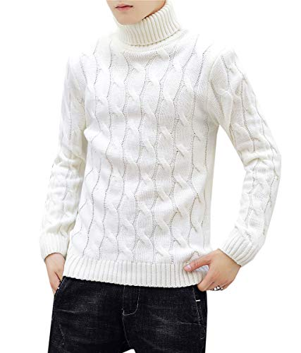 Men's Turtleneck Twisted Cable Knit Pullover Sweater Knitwear Jumper Tops, White, US M