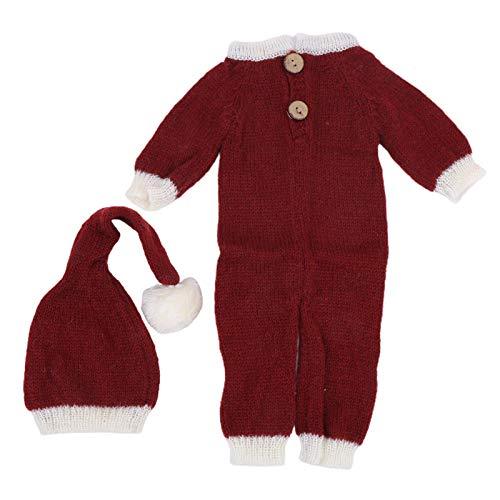 Weihnachtsfotografie Anzug Baby Kleidung Mohair für Neugeborene(Hat + One Piece)