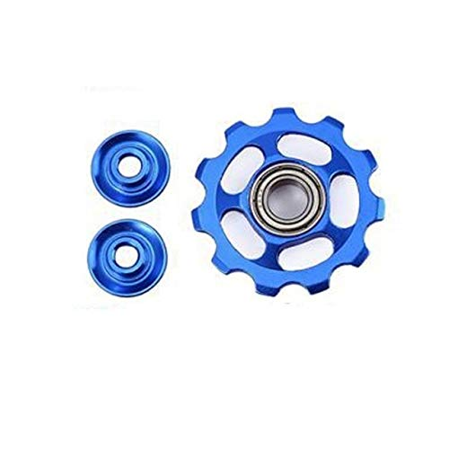 XIARUI Transmission Bicycle 11T Gear Guide Wheel Mountain Bike Aluminum Alloy Bearing Jockey Wheel Rear Derailleur Pulley Bicycle Derailleur Bicycle Accessories (Color : Blue)