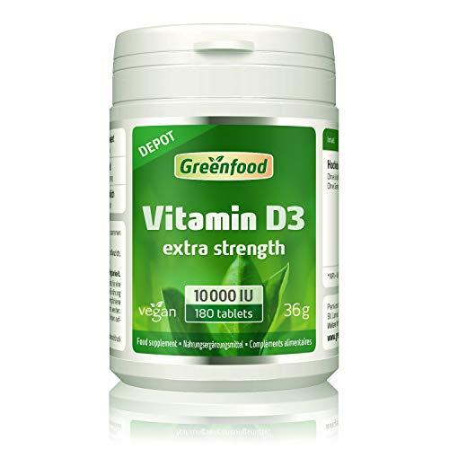 GF Vitamin D3, 10.000 IE, 180 Tabletten, Depot (1 Tablette = 10 Tagesration). Ohne künstliche Zusatzstoffe. Vegan.