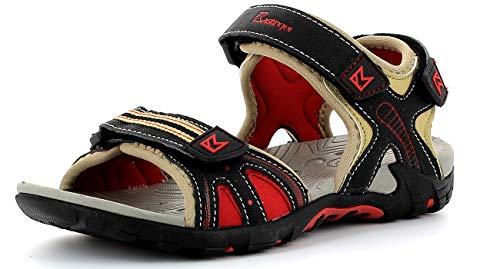 Kastinger Slader,Kinder,Jungen und Mädchen Outdoor-Sandale,3 Klettverschlüsse,Phylon Midsohle,profilierte Outsohle,Sand/Black/red,33