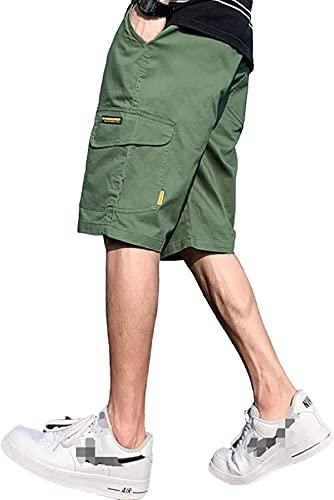 Pantalones cortos cargo de los hombres moda color sólido simplicidad costura bolsillo Streetwear