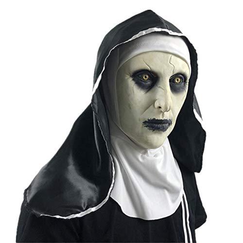 ZANGYUO Halloween Masken Die Nonne Latex Maske Mit Kopftuch Terror Gesichtsmasken Scary Cosplay...