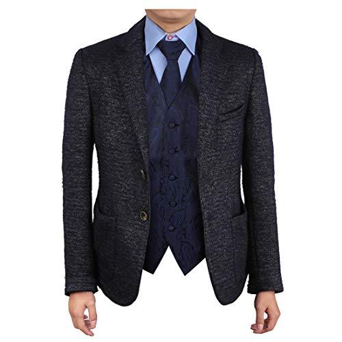 Epoint EGD1B03C-XL Navy Black Paisley Vest Microfiber Christmas Tuxedo Vest Neck Tie Set Best For Travel