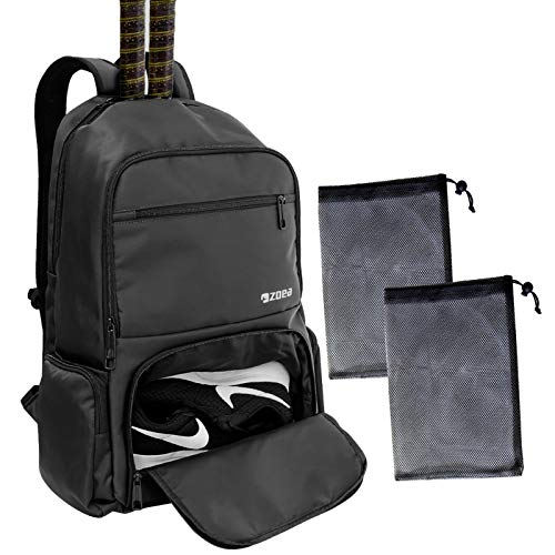 ZOEA Tennis Bag Tennis Backpack Pickleball Bag Tennis Bags for Men Black with a Ventilated Shoes Compartment and 2 Extra Drawstring Bags