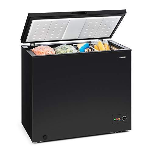 Klarstein Iceblokk 200 - Congelatore, Freezer, 200 L, 42 dB, Controllo della temperatura, Rotoli di terra, autonomo, 2 cesti sospesi, 1 raschietto per ghiaccio, 95x85x69 cm (LxAxP), nero