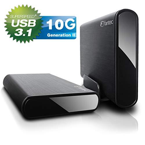 FANTEC DB-ALU31A Externes Festplattengehäuse (für den Einbau Einer 3, 5 Zoll und 2, 5 Zoll SATA I/II/III HDDs und SSDs Festplatte. mit USB 3.1 Typ-C zu Typ-A SuperSpeed+ 10G Anschluss, Schwarz