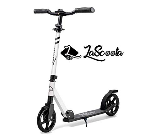 """Lascoota Scooters for Kids 8 Years and up - Quick-Release Folding System - Dual Suspension System + Scooter Shoulder Strap 7.9"""" Big Wheels Great Scooters for Adults and Teens (White, Kids/Adults)"""