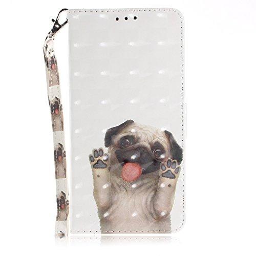 vingarshern Hülle für HTC One M9+ / One M9 Plus Schutzhülle Etui Tasche Klappbares Magnetverschluss Flip Hülle Lederhülle Handytasche HTC One M9+ / M9 Plus Hülle Leder Brieftasche(Mops) MEHRWEG