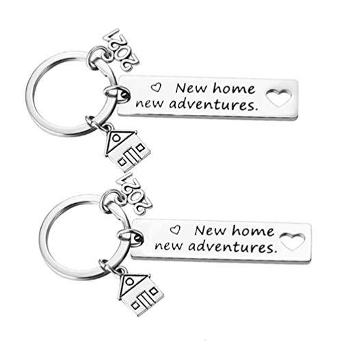 Amosfun 2Pcs 2021 Nova Casa Housewarming Dom Chaveiro para Mulheres Dos Homens Presente Presente para Os Novos Proprietários de Fechamento Corretor de Imóveis para As Famílias Amigos Nova