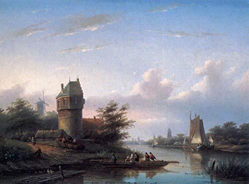 Desconocido €40-€1000 Pintura al óleo a Mano de Pintores universitarios - 30 Pinturas Famosas - The Ferry Barco Jan Jacob Coenraad Spohler - Pintado de Lienzo -tamaño02