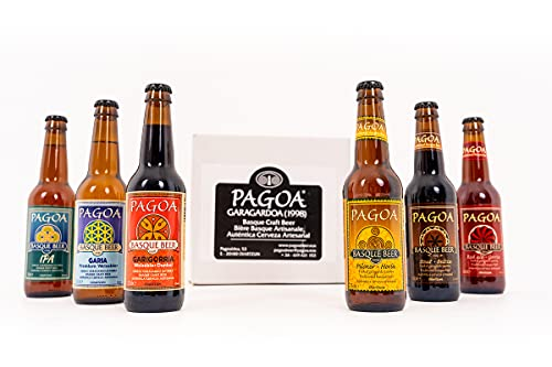 Pagoa - Cerveza Artesana | Pack Degustación Premium 12 x 33 cl | Pilsner, Ipa, Red Ale, Cerveza Negra, Weissbier y Weissbier Dunkel | Pioneros de la Cerveza Artesanal en España desde 1998