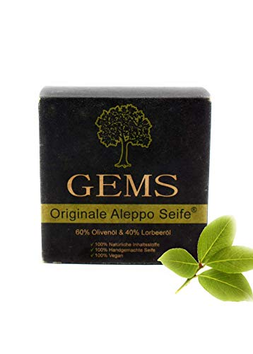 GEMS Original Aleppo Seife, 60% Olivenöl 40% Lorbeeröl, ca.180g, Handmade, Vegan, Naturprodukt, Haarseife, Duschseife, Original Rezeptur