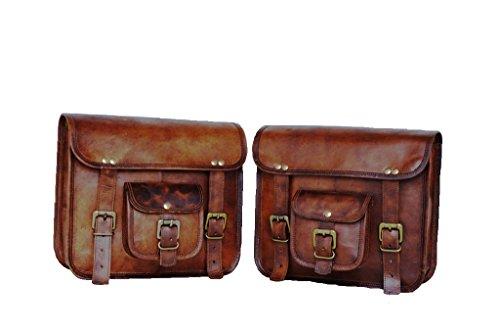 Handgefertigte Tasche Wala 2 x Motorrad-Seitentaschen Braun Leder Seitentasche Satteltaschen Satteltaschen 2 Taschen