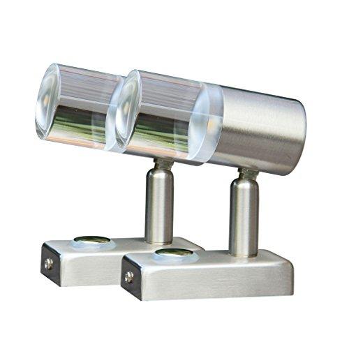 LIGHTEU, 2x 12V 3W A2 Decken/Wandstrahler Nickel-Finish Nachttischlampe Leseleuchte mit Touch-Schalter dimmbar warmweiß/blaues für Yacht, Caravan