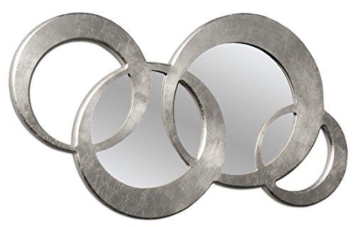 Pintdecor Circles Middle Specchiera, MDF, Argento, 124x71x3 cm, Made in Italy, mdf;vetro