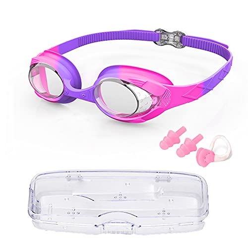 Occhialini Nuoto Bambini, Occhialini Nuoto Bambino 6-14, Swimming Goggles UV Protezione& Senza Perdita Anti Fog, Occhialini Unisex - Bambini. Con tappi per le orecchie, clip per il naso