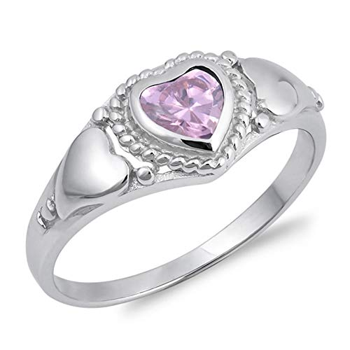 CLOSEOUT WAREHOUSE CloseoutWarehouse Pink Cubic Zirconia - Sterling Silver Heart Ring Available in Colors