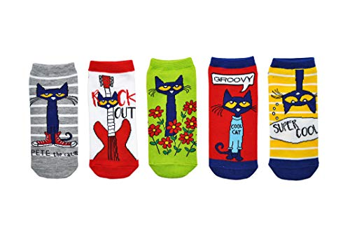 Pete the Cat Socks (Adult) (5 Pair) - (Women) Low Cut Socks - Fits Shoe Size: 4-10 (Ladies)