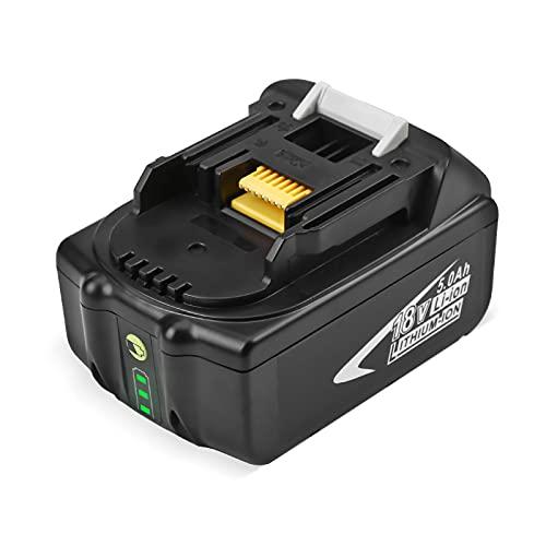 FirstPower Batterie di Ricambio da 18V 5000mAh, Compatibile con Makita BL1850 BL1860B BL1860 BL1850B BL1840B BL1840 BL1830B BL1830 BL1845 BL1835 LXT-400, 194205-3, 194204-5, con Indicatore