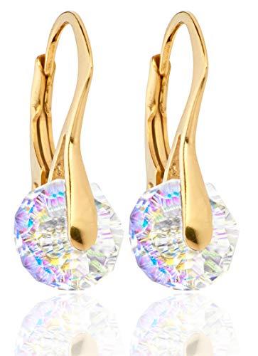 Handgefertigte Ohrringe mit rundenAurora-Borealis-Kristallen von Swarovski®, 8 mm, 24-Karat-Vergoldung über Sterlingsilber Mit 925er-Prägung 2,6 g. Hervorragende Qualität.