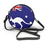 Bolso redondo mujer Women's Round PU Leather Crossbody Purse Shoulder Bag Australian Flag Kangaroo Mark Circle Tote Shopping Handbag For Ladies Sling Bag