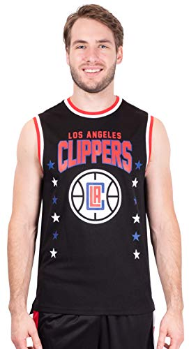 Ultra Game NBA Los Angeles Clippers Mens Jersey Sleeveless Muscle T-Shirt, Black, XX-Large