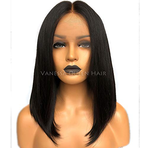 Maycaur Bob Human Hair Wigs Short Straight Full Lace Wig Cut Lace Front Wigs For Women 150 Density (12 inch, lace front)