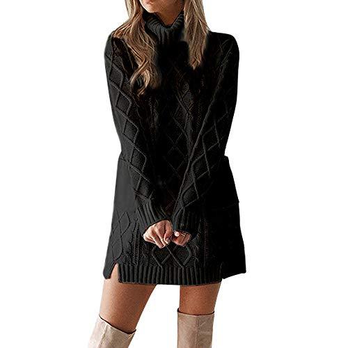 OverDose mujer Vestidos De SuéTer De Punto De Cuello Alto Falda Linda Caliente De Manga Larga con Bolsillo Holiday Sexy Mini Vestido Recto