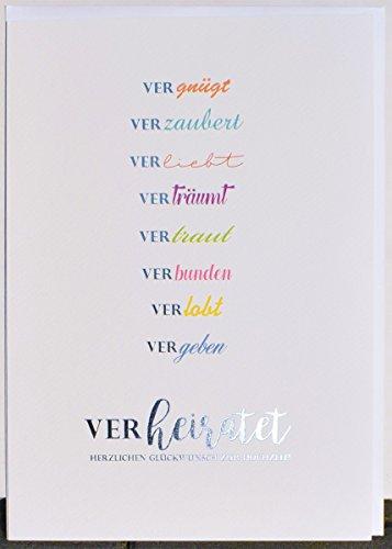 A4 XXL Hochzeitskarte vergnügt verzaubert verliebt weiß silber bunt