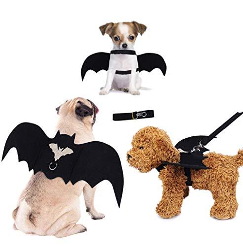 MQIAN Alas de Murcilago de Mascotas, Halloween Disfraz de Murcilago Negro/Ropa Ajustable para Mascotas de Halloween/El Disfraz de Alas de Murcilago